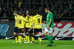 14.10.2011, Weser Stadion, Bremen, GER, 1.FBL, Werder Bremen vs Borussia Dortmund, im Bild.Jubel Dortmund nach dem Tor von Ivan Perisic (Dortmund #14) re Sokratis (Bremen #22) li Andreas Wolf (Bremen #23).// during the Match GER, 1.FBL, Werder Bremen vs Borussia Dortmund on 2011/10/14,  Weser Stadion, Bremen, Germany..EXPA Pictures © 2011, PhotoCredit: EXPA/ nph/  Kokenge       ****** out of GER / CRO  / BEL ******