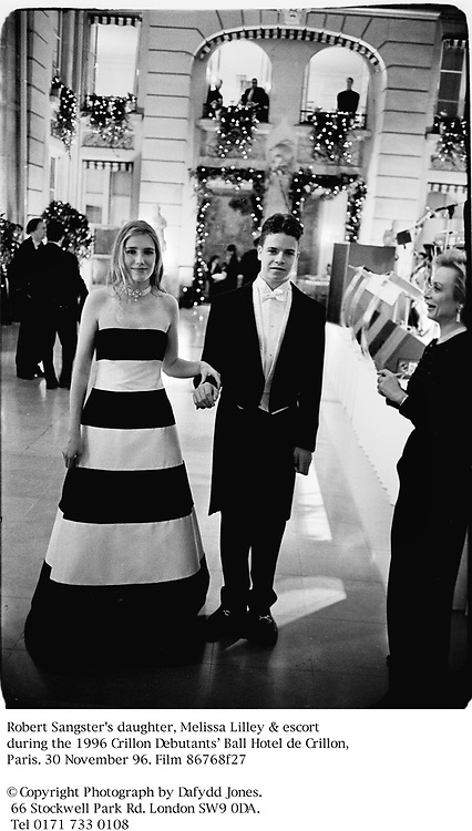Robert Sangster's daughter, Melissa Lilley & escort at the 1996 Crillon Debutants' Ball Hotel de Crillon, Paris. 30 November 96. Film 86768f27<br />© Copyright Photograph by Dafydd Jones. 66 Stockwell Park Rd. London SW9 0DA. Tel 0171 733 0108