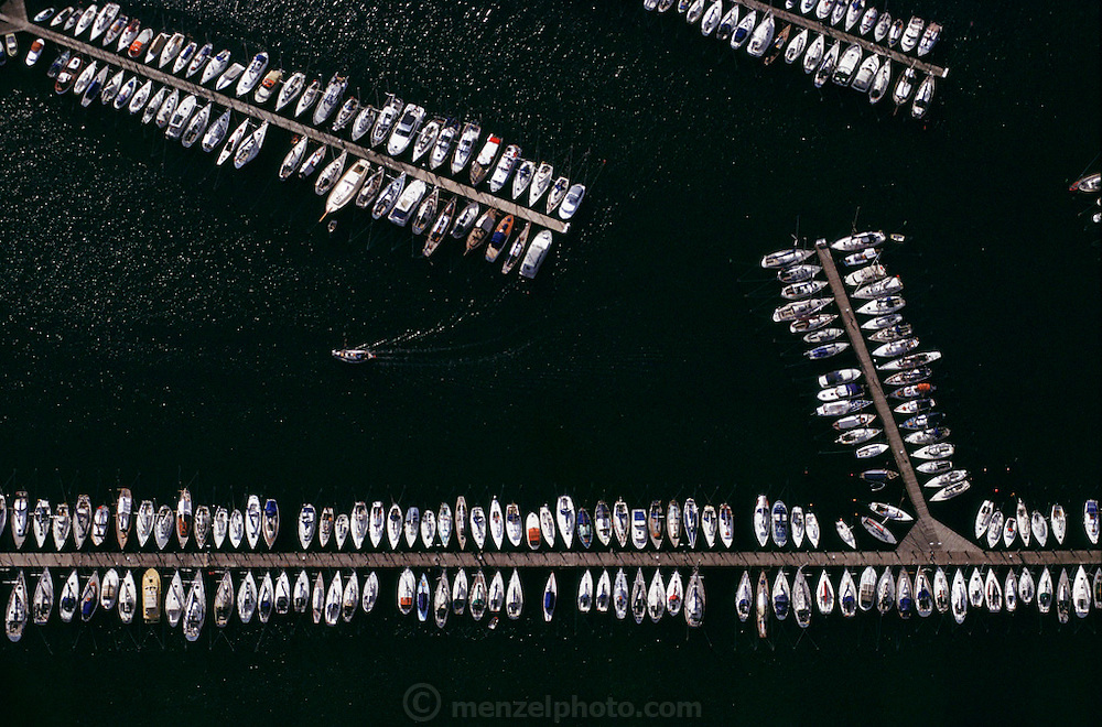 Aerial of small pleasure boats docked in the harbor. Copenhagen, Denmark.
