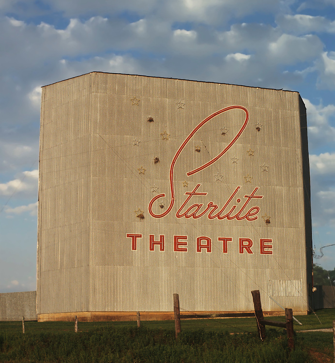 Starlite Drive-In movie theatre screen just outside of Brenham, Texas.