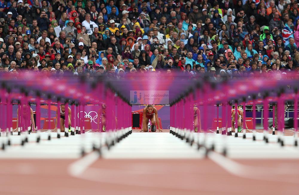 Lolo Jones prepares to run in the 100m hurdles during track and field at the Olympic Stadium during day 11 of the London Olympic Games in London, England, United Kingdom on August 7, 2012..(Jed Jacobsohn/for The New York Times)..