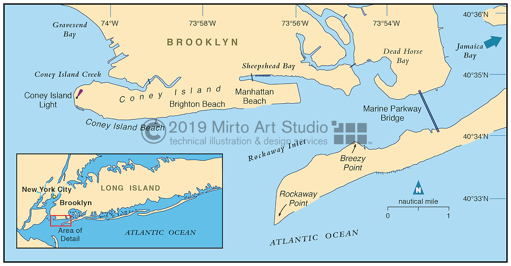 Vector map of Coney Island, New York