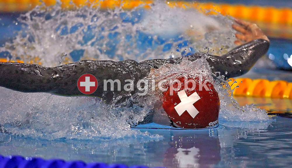 Damien COURTOIS of Switzerland competes in the men's 50m butterfly heats on day four at the European Short-Course Swimming Championships at the Maekelaenrinne Swimming Centre in Helsinki, Finland, Sunday December 10, 2006. (Photo by Patrick B. Kraemer / MAGICPBK)
