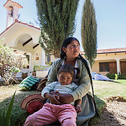 A patient inside the courtyard of Pietro Gamba's hospital in Anzaldo, near Cochabamba, in the Bolivian Andes