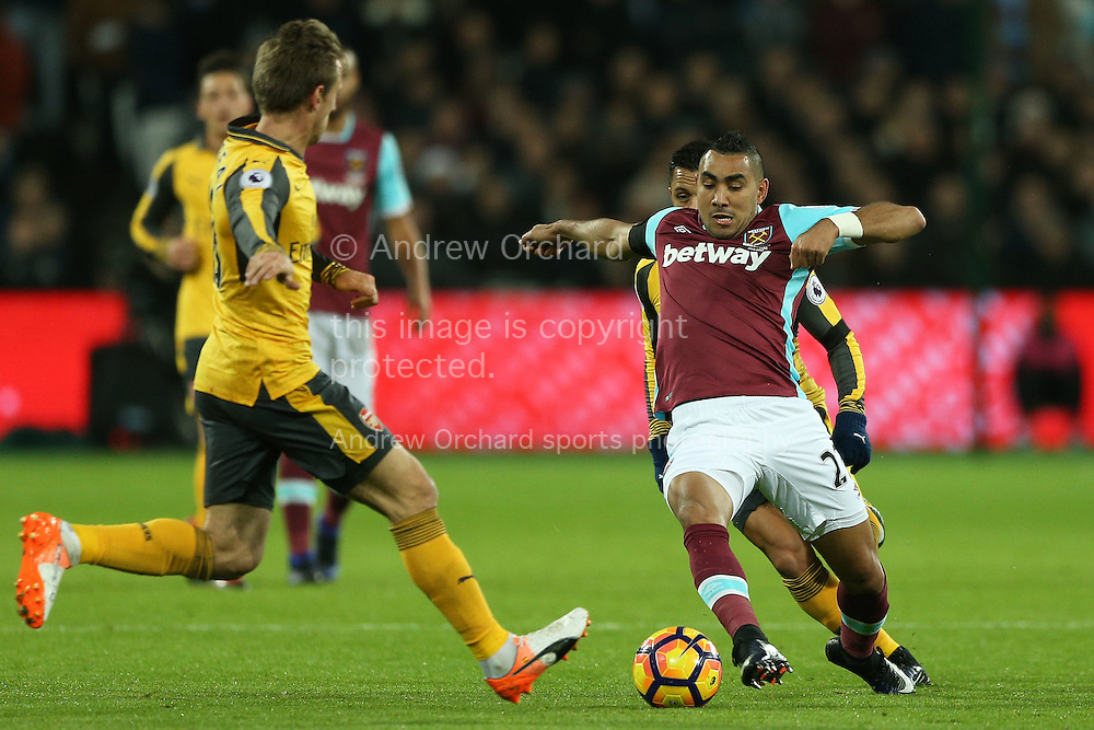 Dimitri Payet of West Ham United in action. Premier league match, West Ham Utd v Arsenal at the London Stadium, Queen Elizabeth Olympic Park in London on Saturday 3rd December 2016.<br /> pic by John Patrick Fletcher, Andrew Orchard sports photography.