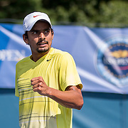 August 16, 2014, New Haven, CT:<br /> Sanam Singh reacts during the 2014 US Open National Playoffs Men's final match against Jeff Dadamo on day four of the 2014 Connecticut Open at the Yale University Tennis Center in New Haven, Connecticut Monday, August 18, 2014.<br /> (Photo by Billie Weiss/Connecticut Open)