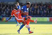 Shrewsbury Town midfielder Anthony Grant (42) getting fouled by AFC Wimbledon midfielder Tom Soares (19) during the EFL Sky Bet League 1 match between AFC Wimbledon and Shrewsbury Town at the Cherry Red Records Stadium, Kingston, England on 3 November 2018.