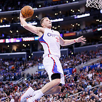 18 February 2014: Los Angeles Clippers power forward Blake Griffin (32) goes for the dunk during the San Antonio Spurs 113-103 victory over the Los Angeles Clippers at the Staples Center, Los Angeles, California, USA.