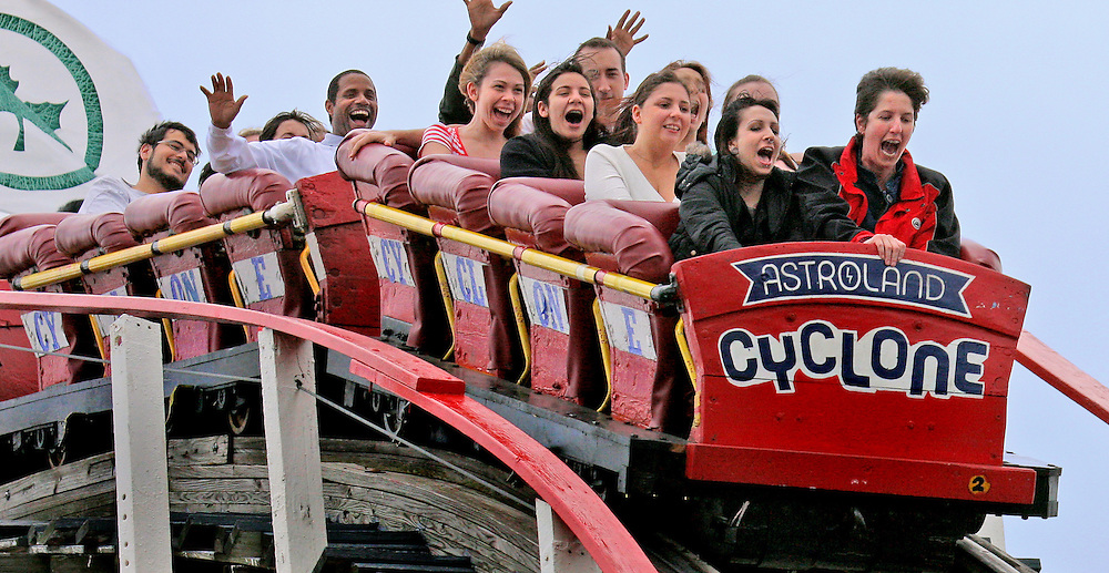 Top of the World! Coney Island, Brooklyn's Cyclone roller coaster.