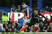 Everton defender Lucas Digne (12)  and Chelsea midfielder Christian Pulisic (22) during the Premier League match between Everton and Chelsea at Goodison Park, Liverpool, England on 7 December 2019.