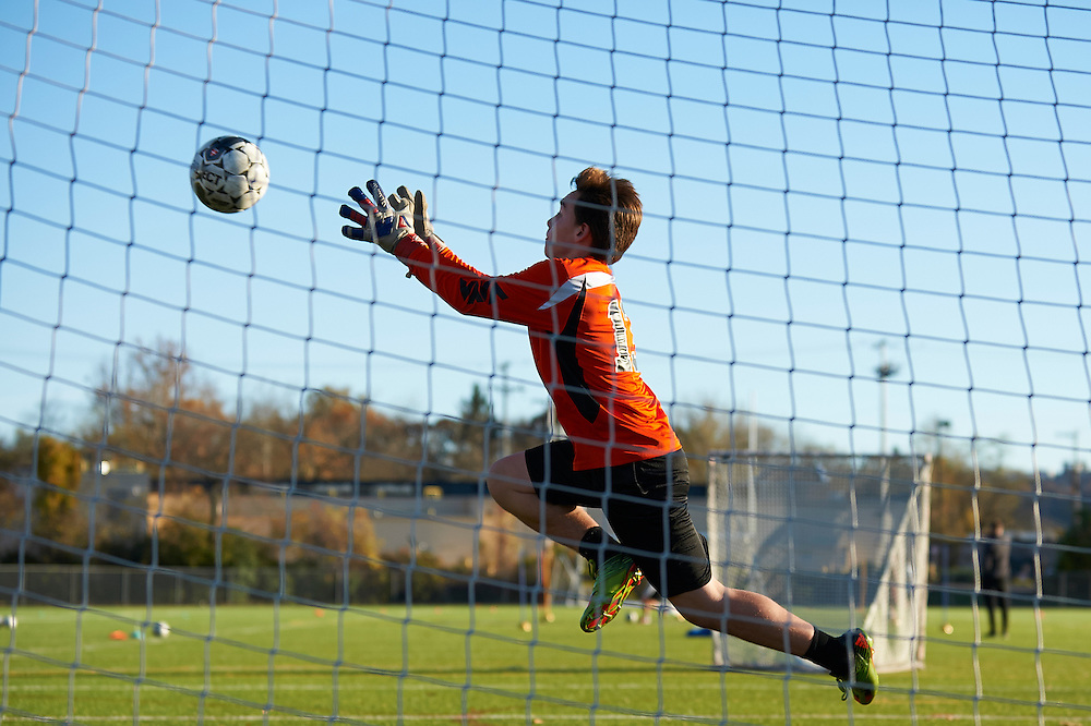 Sewickley, PA - NOVEMBER 10:   QVHS soccer team practices for the 2016 PIAA AA Boy's Soccer Championships being held at Hershey, PA. (Photo by Shelley Lipton)