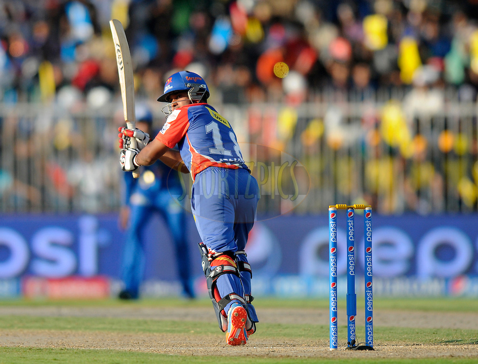 Kedar Jadhav of the Delhi Daredevils bats during match 16 of the Pepsi Indian Premier League 2014 between the Delhi Daredevils and the Mumbai Indians held at the Sharjah Cricket Stadium, Sharjah, United Arab Emirates on the 27th April 2014<br /> <br /> Photo by Pal Pillai / IPL / SPORTZPICS