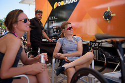 Amalie Dideriksen relaxes in the shade before Stage 5 of the Giro Rosa - a 12.7 km individual time trial, starting and finishing in Sant'Elpido A Mare on July 4, 2017, in Fermo, Italy. (Photo by Sean Robinson/Velofocus.com)