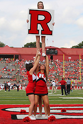 Sept 8, 2012; Piscataway, NJ, USA; Rutgers Scarlet Knights cheerleaders during the first half at High Point Solutions Stadium.