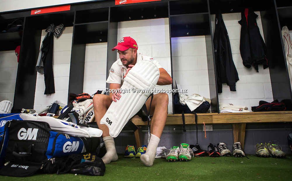 Peter Fulton padding up before he becomes Canterbury's most capped first class cricketer, playing in his 104th first class match for the association overtakeing Paul McEwan in the Plunket Shield cricket game between Canterbury v Central Districts at Mainpower Oval, Rangiora. 17 December 2015. Photo: Joseph Johnson / www.photosport.nz