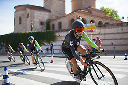 Rossella Ratto (ITA) of Cylance Pro Cycling leans into the final corner on Stage 1 of the Madrid Challenge - a 12.6 km team time trial, starting and finishing in Boadille del Monte on September 15, 2018, in Madrid, Spain. (Photo by Balint Hamvas/Velofocus.com)
