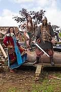 Kalygulina, Freyja Shieldmaiden and Ragnar, posing following a battle scene at the Dragonslayer shoot.