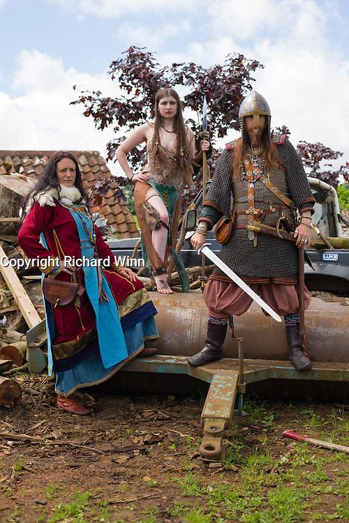 Kalygulina, Freyja Shieldmaiden and Ragnar, posing following a battle scene at the Dragonslayer shoot.