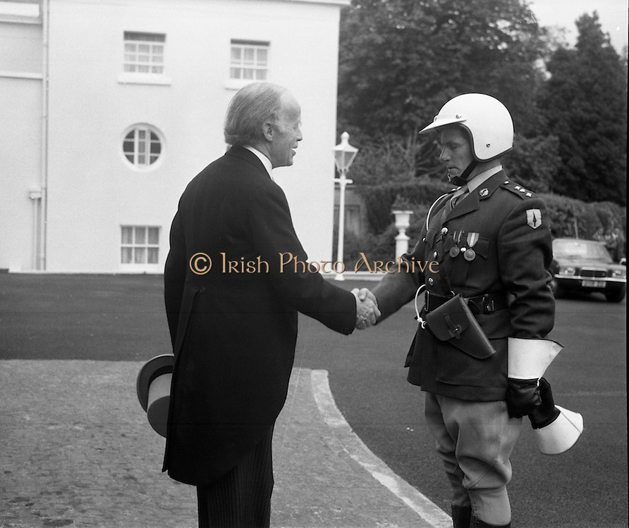 President Childers Inaugerated     (F26)..1973..25.06.1973..06.25.1973..25th June 1973..After his inaugeration President Childers returned to take up residence in Áras an Uachtaráin,Phoenix Park, Dublin..President Childers is pictured thanking the officer in charge of his escort after his arrival at Áras an Uachtaráin.