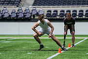 Academy student athletes try out today during the NFL Academy Stadium Showcase (Shuttle run) during the NFL Media Day held at Tottenham Hotspur Stadium, London, United Kingdom on 2 July 2019.