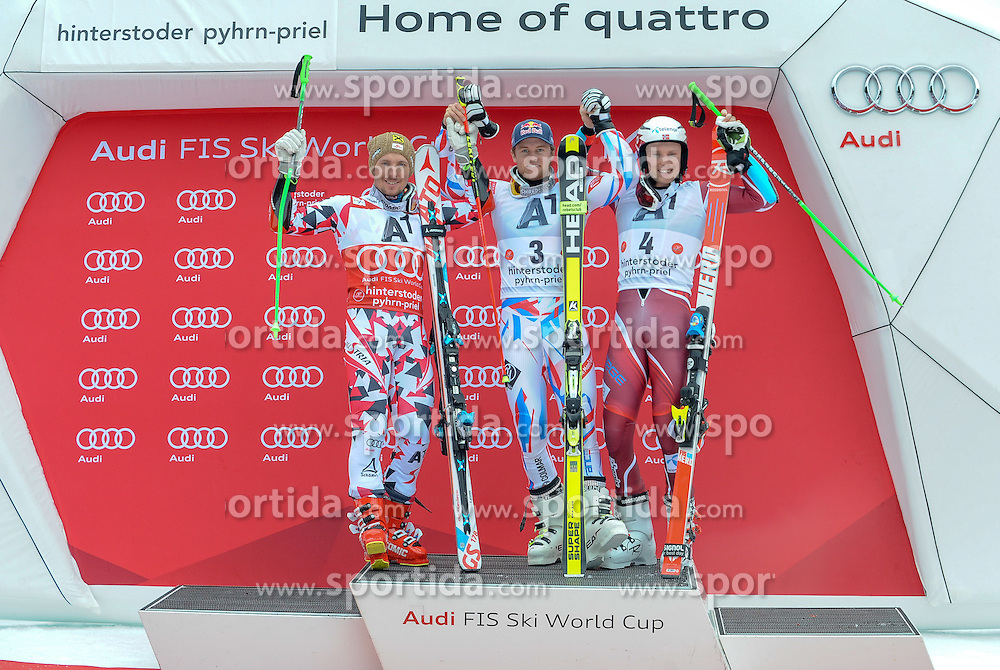 28.02.2016, Hannes Trinkl Rennstrecke, Hinterstoder, AUT, FIS Weltcup Ski Alpin, Hinterstoder, Riesenslalom, Herren, Podium, im Bild Marcel Hirscher (AUT, 2.Platz), Sieger Alexis Pinturault (FRA), Henrik Kristoffersen (NOR, 3.Platz) // Marcel Hirscher of Austria (second place)Alexis Pinturault of France (winner)Henrik Kristoffersen of Norway(third place) celebrate on Podium of men's Giant Slalom of Hinterstoder FIS Ski Alpine World Cup at the Hannes Trinkl Rennstrecke in Hinterstoder, Austria on 2016/02/28. EXPA Pictures © 2016, PhotoCredit: EXPA/ ERICH SPIESS