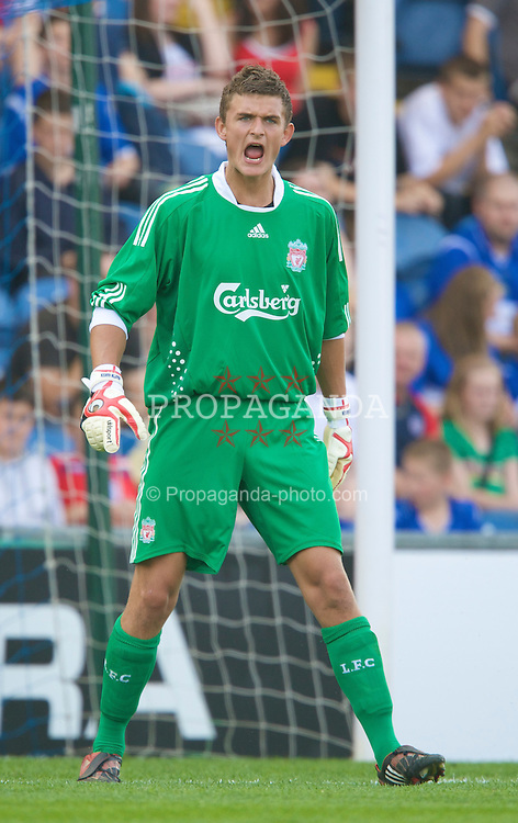 STOCKPORT, ENGLAND - Saturday, July 26, 2008: Liverpool's goalkeeper Martin Hansen in action against Stockport County during a pre-season friendly match at Edgely Park. (Pic by David Rawcliffe/Propaganda)
