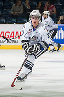 KELOWNA, CANADA - NOVEMBER 5: Jared Dmytriw #27 of Victoria Royals skates with the puck during warm up against the Kelowna Rockets on November 5, 2014 at Prospera Place in Kelowna, British Columbia, Canada.  (Photo by Marissa Baecker/Shoot the Breeze)  *** Local Caption *** Jared Dmytriw;