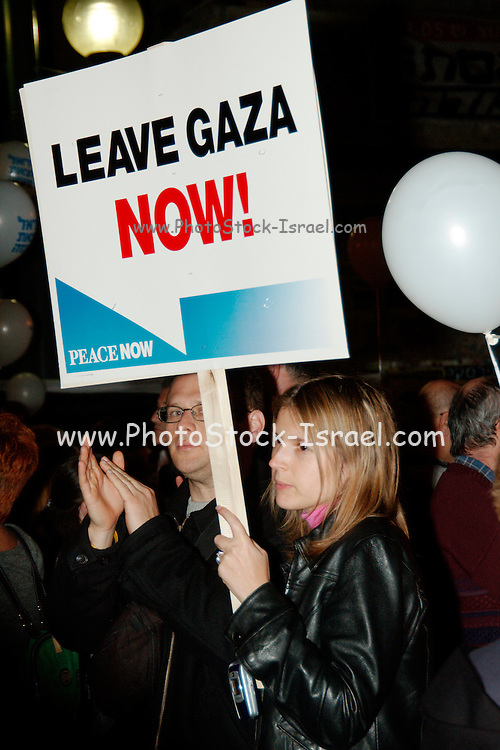An Israeli peace rally held on 19th of March 2005 in Tel Aviv, IsraelThe protest and march was to support the idea to leave the west bank and Gaza and sign a treaty with the Palestinians