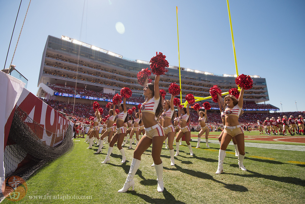 August 17, 2014; Santa Clara, CA, USA; San Francisco 49ers Gold Rush cheerleaders perform during the third quarter against the Denver Broncos at Levi's Stadium. The Broncos defeated the 49ers 34-0.