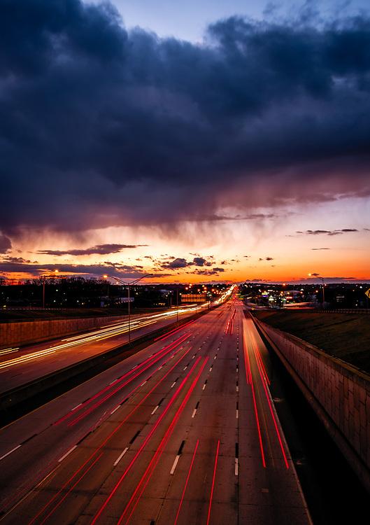 Sunset traveling west on I-40 in Greensboro, North Carolina