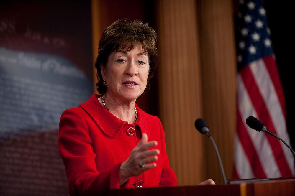 "Feb 1, 2011 - Washington, District of Columbia, U.S. - Senator SUSAN COLLINS, (R-MA) during a news conference to release a new Government Accountability Office report, ""Security Enhanced DHS Oversight and Assessment of Interagency Coordination is Needed for the Northern Border."".(Credit Image: © Pete Marovich/ZUMA Press)"