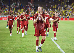 SOUTH BEND, INDIANA, USA - Friday, July 19, 2019: Liverpool's captain Jordan Henderson applauds supporters after a friendly match between Liverpool FC and Borussia Dortmund at the Notre Dame Stadium on day four of the club's pre-season tour of America. Dortmund won 3-2. (Pic by David Rawcliffe/Propaganda)
