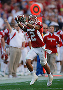 Indiana Hoosiers wide receiver Tandon Doss (2) makes a great catch on the sidelines for a first down in an NCAA football game between Indiana and Penn Sate at FedEx field in Landover, Maryland