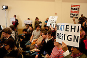 Students protest quietly in a meeting of the UC Regents at UC Davis, No ember 28, 2011.