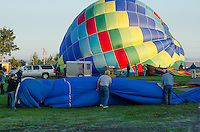 Inflating the envelope of 'Tracer,' Crown of Maine Balloon Fair, Presque Isle, Maine.