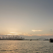 Sydney Bay during sunset seen from a ferry.