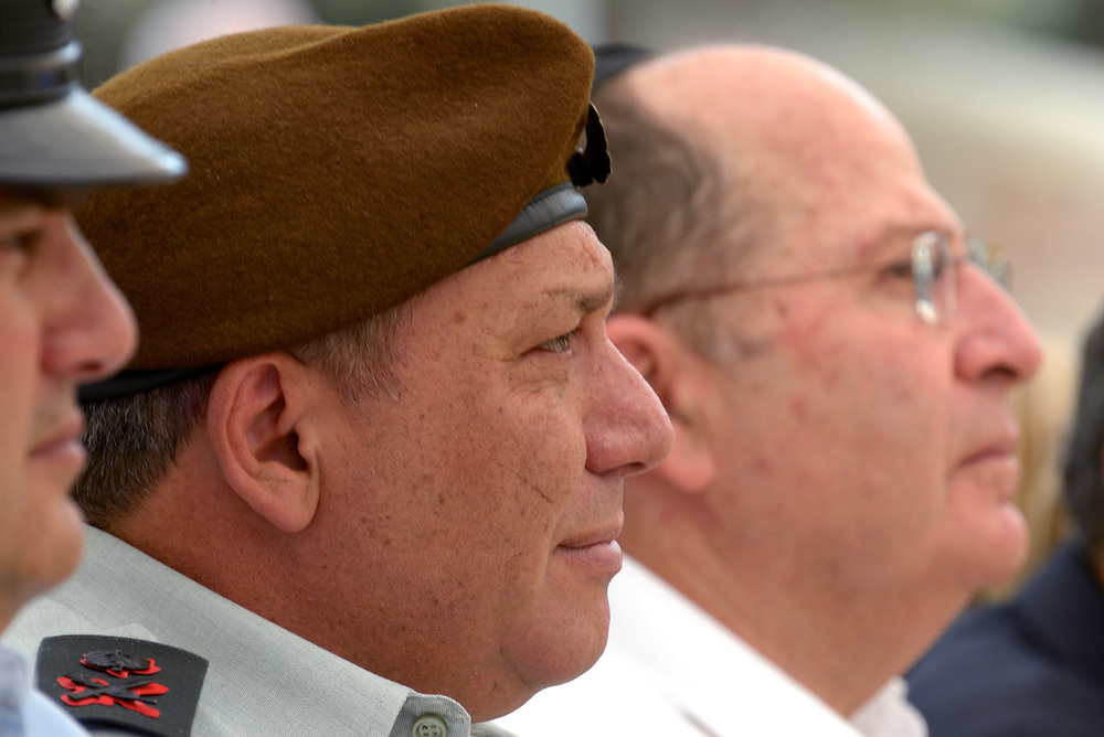 "Israeli Defence Minister Moshe ""Bogie"" Ya'alon and Major-General Gadi Eizenkot, current Deputy Chief of Staff attend the official memorial day ceremony at the military cemetery Kiryat Shaul on May 5, 2014 in Tel Aviv, Israel. Photo by Gili Yaari"