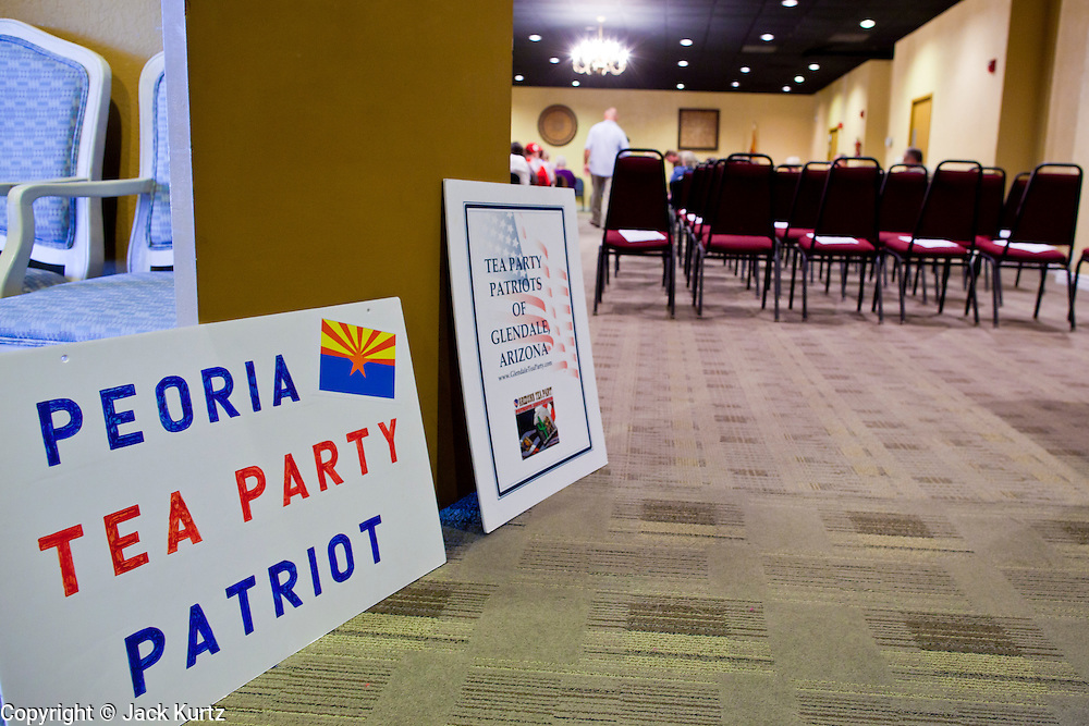July 14 - PEORIA, AZ: An empty hotel meeting room in Peoria, AZ, where JD Hayworth campaigned against Sen. John McCain (R-AZ). Hayworth spoke to a Tea Party gathering in a hotel meeting room in Peoria. Hayworth, an ultra conservative, is running to the right of McCain and has painted McCain as a moderate to liberal Senator in the mold John Kerry (D-MA).     Photo by Jack Kurtz