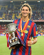 FC Barcelona's Zlatan Ibrahimovic with the Supercup of Spain.August 23 2009.