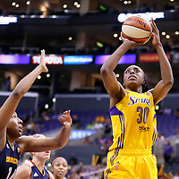 03 August 2014: Los Angeles Sparks forward Nneka Ogwumike (30) takes a jump shot during the Los Angeles Sparks 70-69 victory over the Connecticut Sun, at the Staples Center, Los Angeles, California, USA.