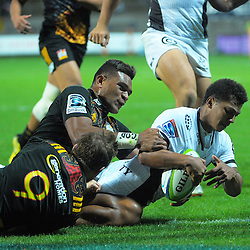 Garth April scores before halftime for the Sharks during the Super Rugby match between the Chiefs and Lions at Yarrow Stadium, New Plymouth, New Zealand on Saturday, 5 March 2016. Photo: Dave Lintott