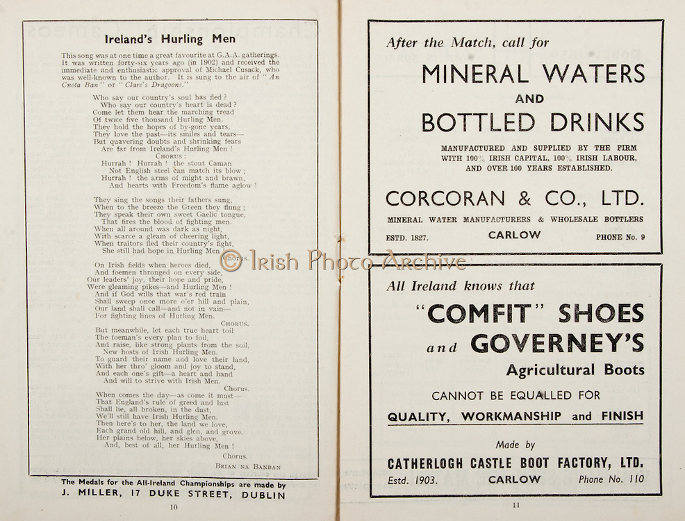 All Ireland Senior Hurling Championship Final,.Brochures,.05.09.1948, 09.05.1948, 5th September 1948, .Waterford 6-7, Dublin 4-2, .Minor Kilkenny v Waterford, .Senior Dublin v Waterford, .Croke Park, ..Songs, Ireland's Hurling Men, ..Advertisements, Mineral Waters and Bottled Drinks Corcoran & Co Ltd, Comfit Shoes Catherlogh Castle Boot Factory Ltd,