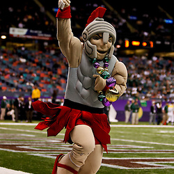 December 18, 2010; New Orleans, LA, USA; The Troy Trojans mascot celebrates after a touchdown against the Ohio Bobcats during the first quarter of the 2010 New Orleans Bowl at the Louisiana Superdome.  Mandatory Credit: Derick E. Hingle