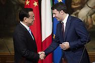 14/10/2014 Rome, italian premier and prime minister of Chinese Popular Republic press conference. Matteo Renzi, Li Keqiang - © PIERPAOLO SCAVUZZO