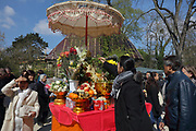 Cambodian buddhists during the Khmer New Year celebrations at the Great Pagoda of the Bois de Vincennes, in the 12th arrondissement of Paris, France, photographed on 14th April 2019. Cambodians celebrate the entrance of the sun to the constellation of the ram, marking the beginning of the Buddhist year 2563. Khmer New Year or Chaul Chnam Thmey marks the end of the dry season and Cambodians celebrate by bringing offerings to temples or wats. Picture by Manuel Cohen
