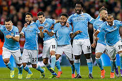 Raheem Sterling and Manchester City celebrate as Yaya Toure scores his penalty to win the match and make teir side 2016 Capital One Cup Champions - Mandatory byline: Rogan Thomson/JMP - 28/02/2016 - FOOTBALL - Wembley Stadium - London, England - Liverpool v Manchester City - Capital One Cup Final.