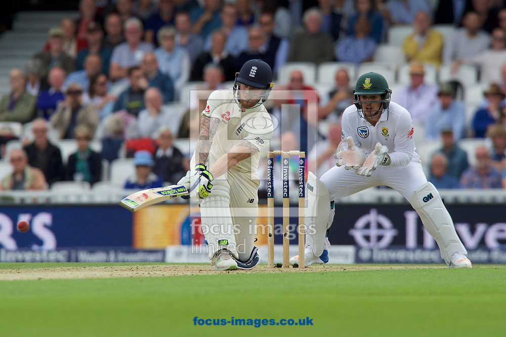 Ben Stokes of England plays a sweep shot watched by Wicketkeeper Quinton de Kock of South Africa during the 100th Investec Test Match match at the Kia Oval, London<br /> Picture by Alan Stanford/Focus Images Ltd +44 7915 056117<br /> 28/07/2017