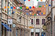 Facades de la rue des vieux Murs dans le quartier du vieux Lille// typical houses facades of Lille old town district.