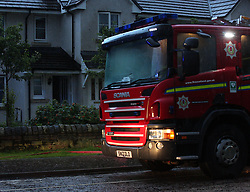 Lightning strike in Prestonpans 10 August 2019; Emergency services attend a Prestonspans house that was struck by lightning during a storm. Lightning struck during a house party and, thankfully, everyone escaped without any injury.<br /> <br /> (c) Chris McCluskie | Edinburgh Elite media