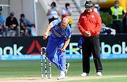 Merwias Ashraf bowling for Sri Lanka during the ICC Cricket World Cup match between Afghanistan and Sri Lanka at university oval in Dunedin, New Zealand. Photo: Richard Hood/photosport.co.nz